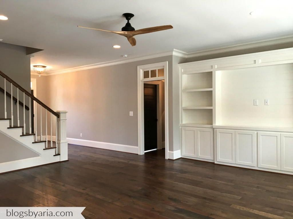 living room with built-in media cabinet