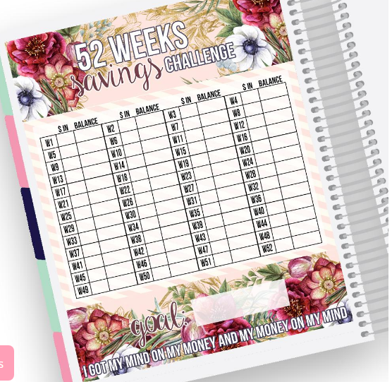 52 weeks savings catcher notes page