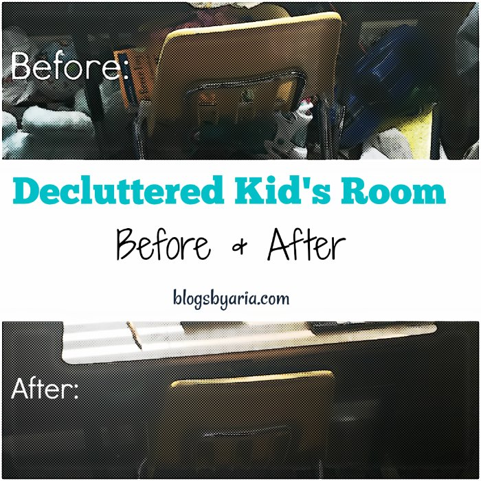 decluttered kids room before and after