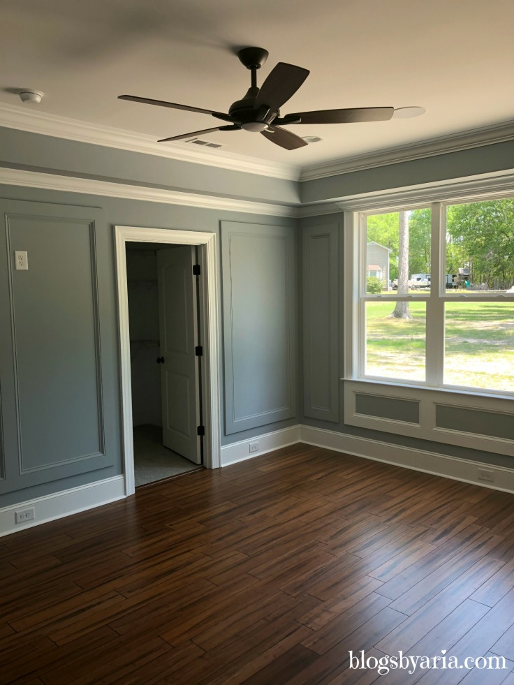 master bathroom with painted trim