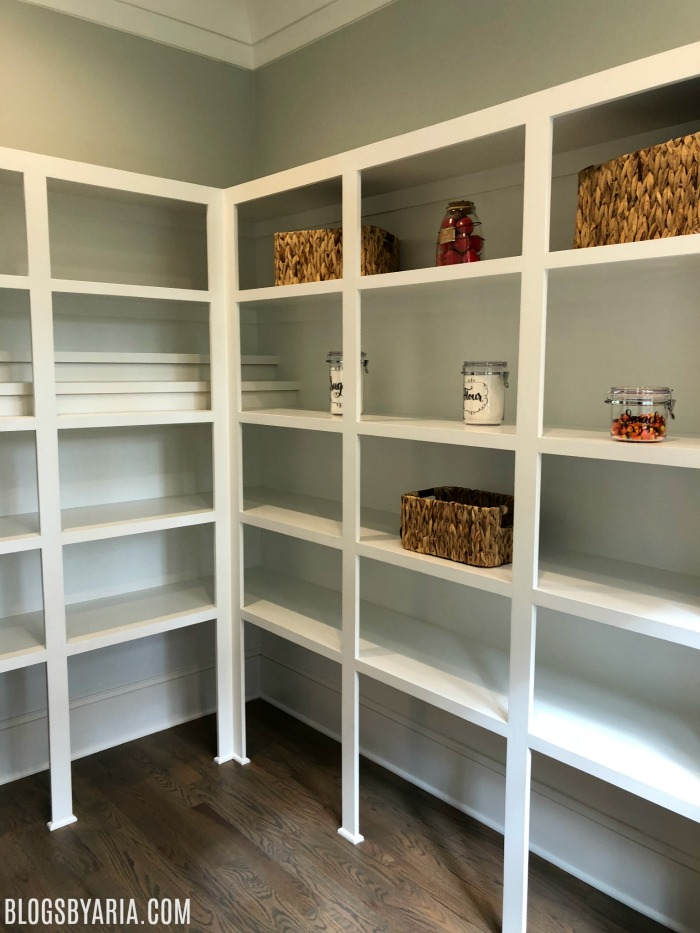 walk in pantry with built ins for canned goods