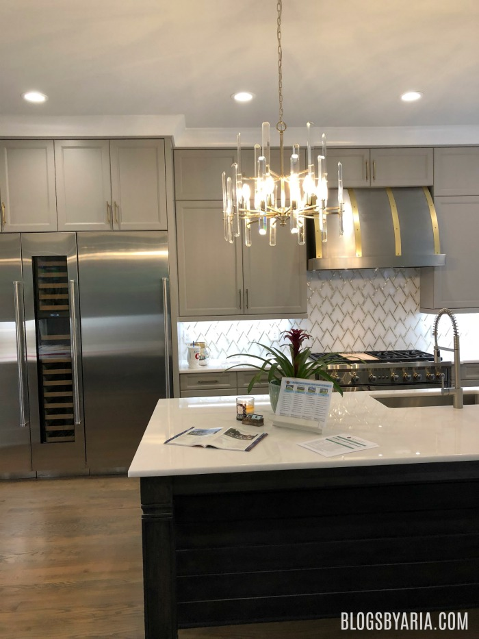 gray and brass kitchen
