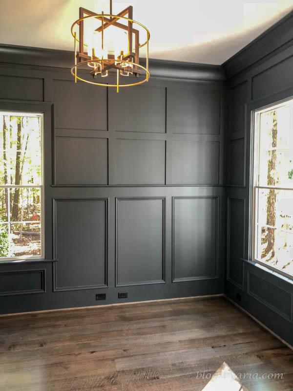 love the painted wall molding that makes this study so stately