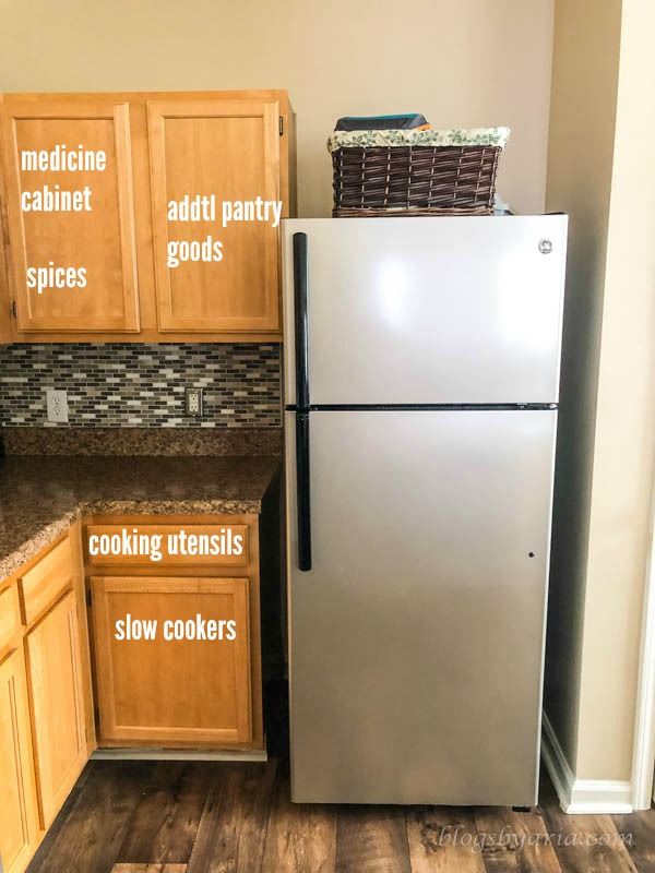 our organized townhouse kitchen layout including where things are in our drawers and cabinets