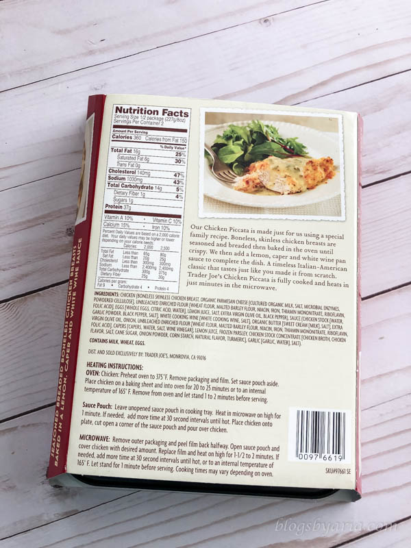 A Few Good Things - Trader Joe's Chicken Piccata - a great low carb dinner option!