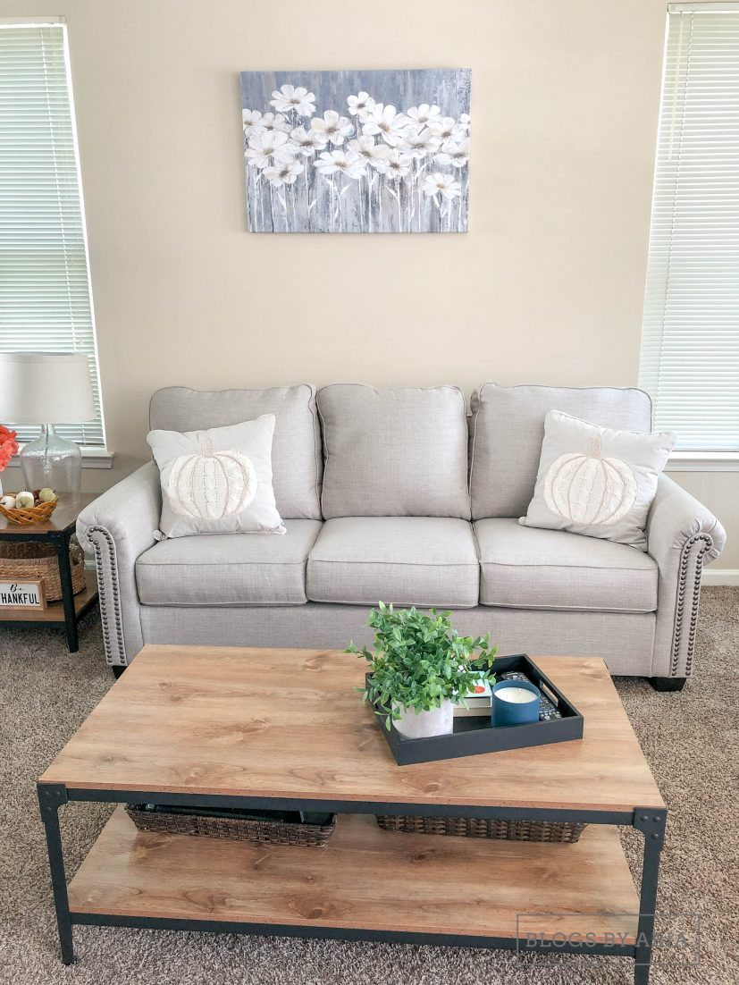 Neutral Living Room decorated for fall