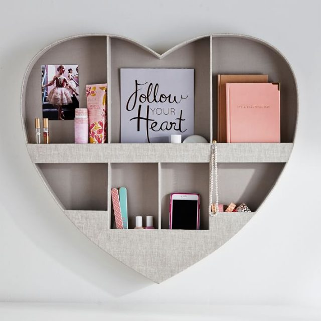No Nails Fabric Heart Wall Organizer for college dorm room