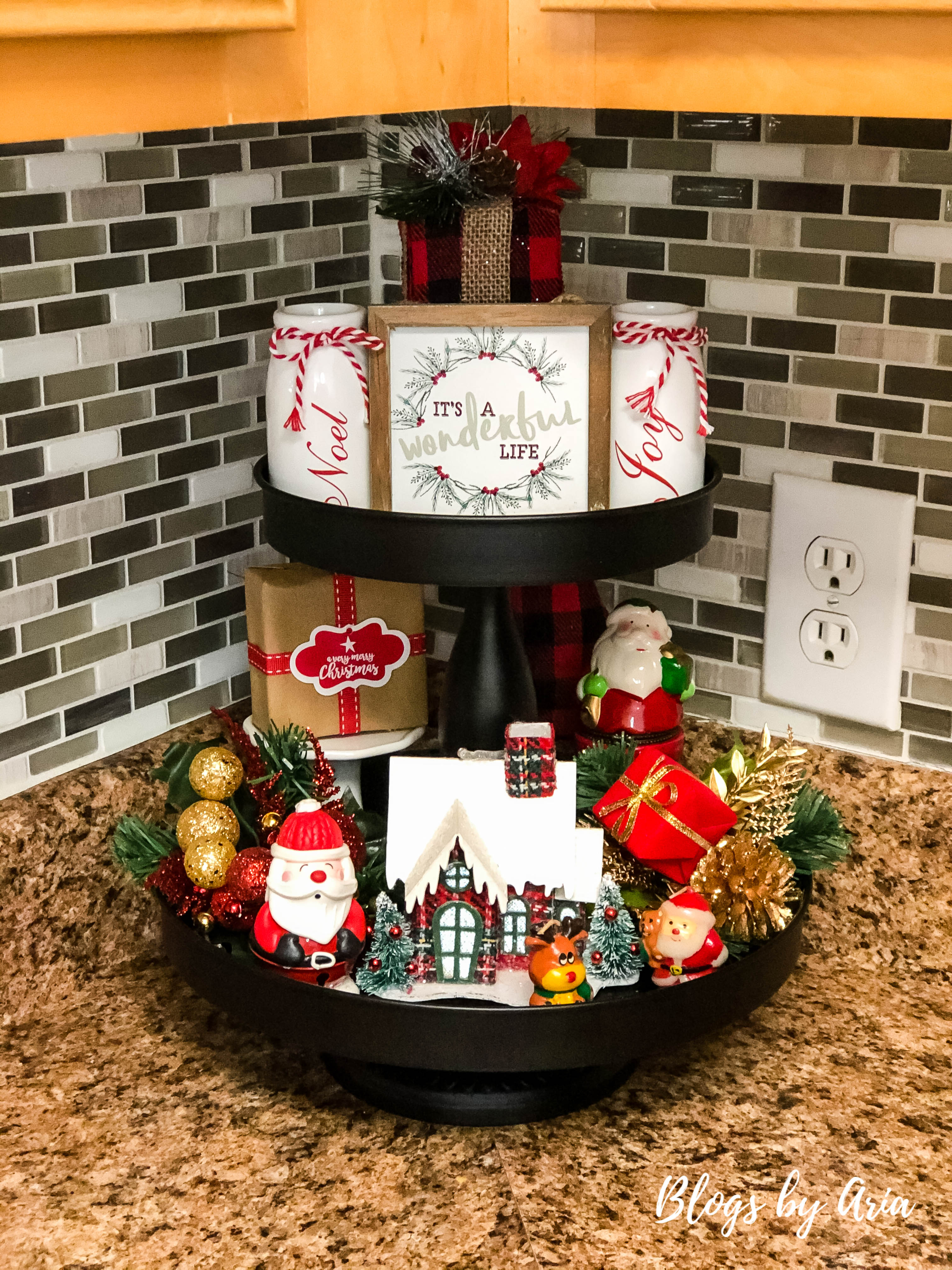 Christmas Tiered Tray Decor