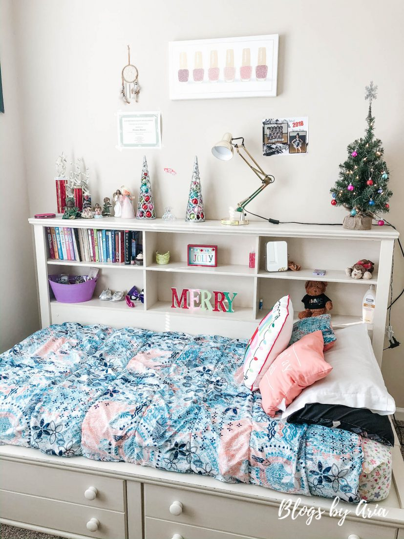 girls bedroom decorated for Christmas kids decor