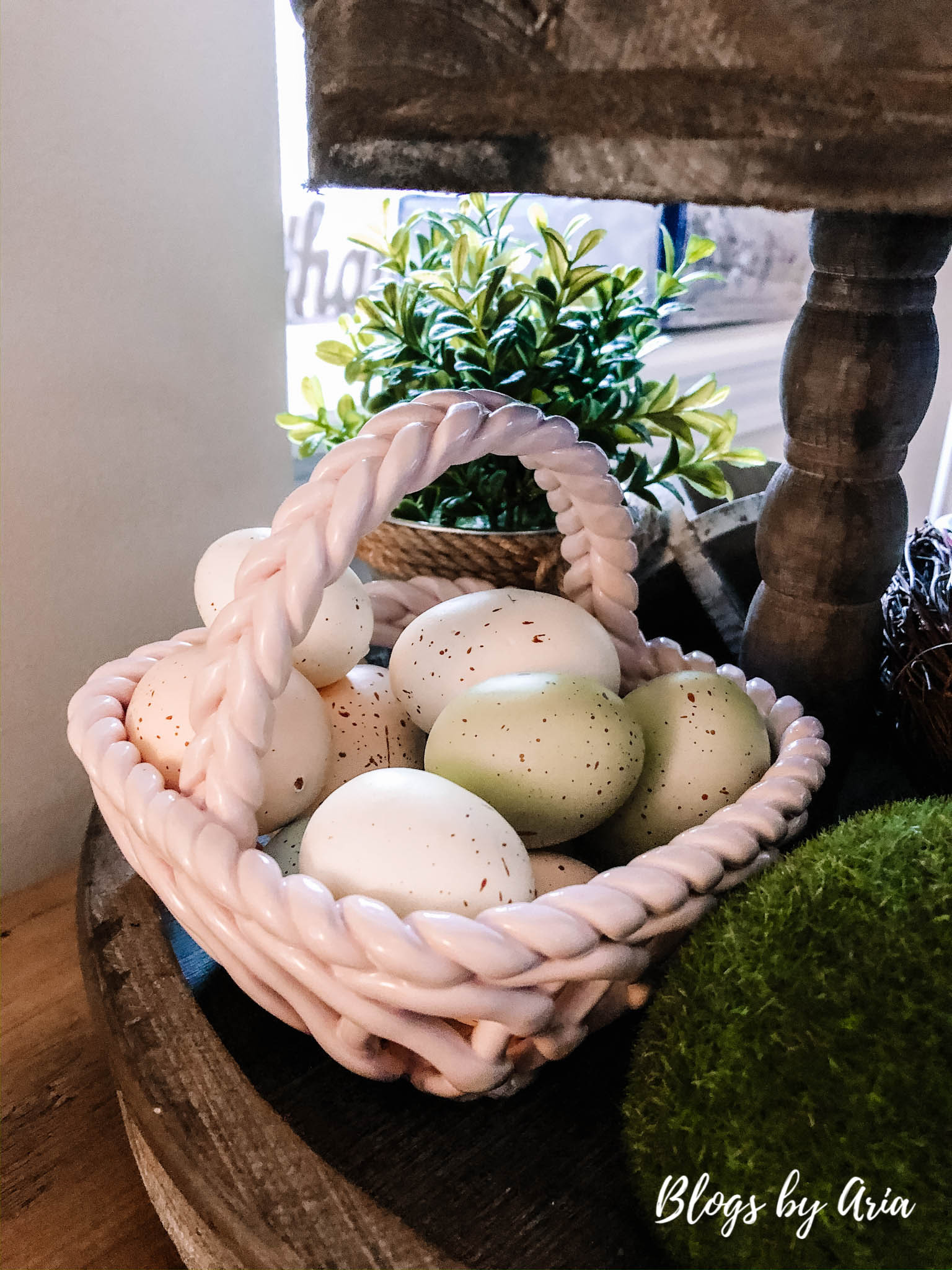 Easter egg basket tiered tray decor