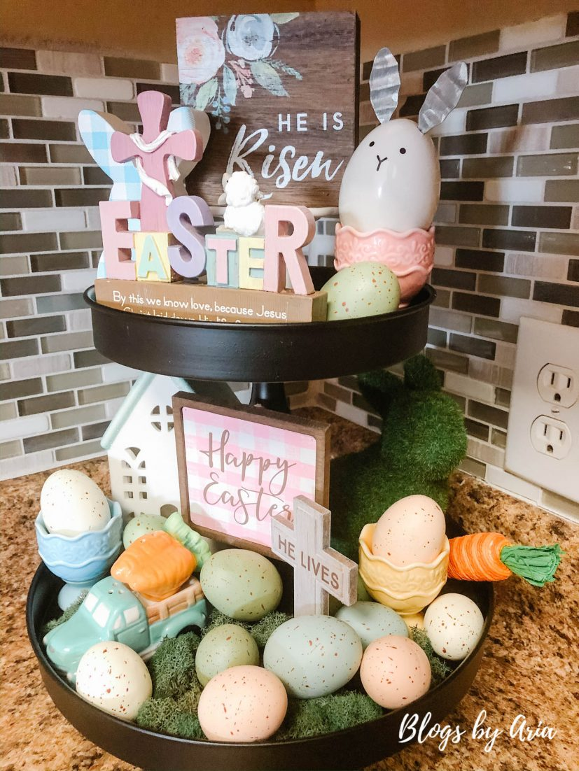 Easter tiered tray decorations