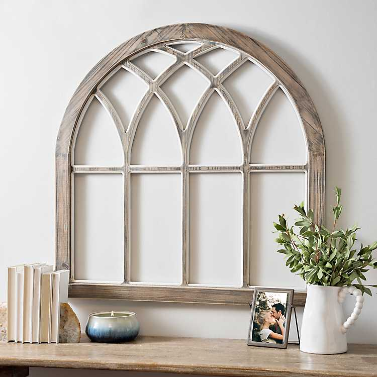 Gray Weathered Arch Wood Wall Plaque
