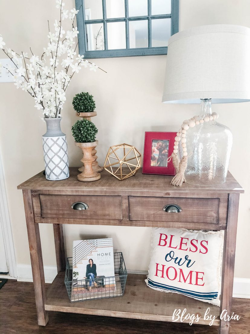 decorating entryway table