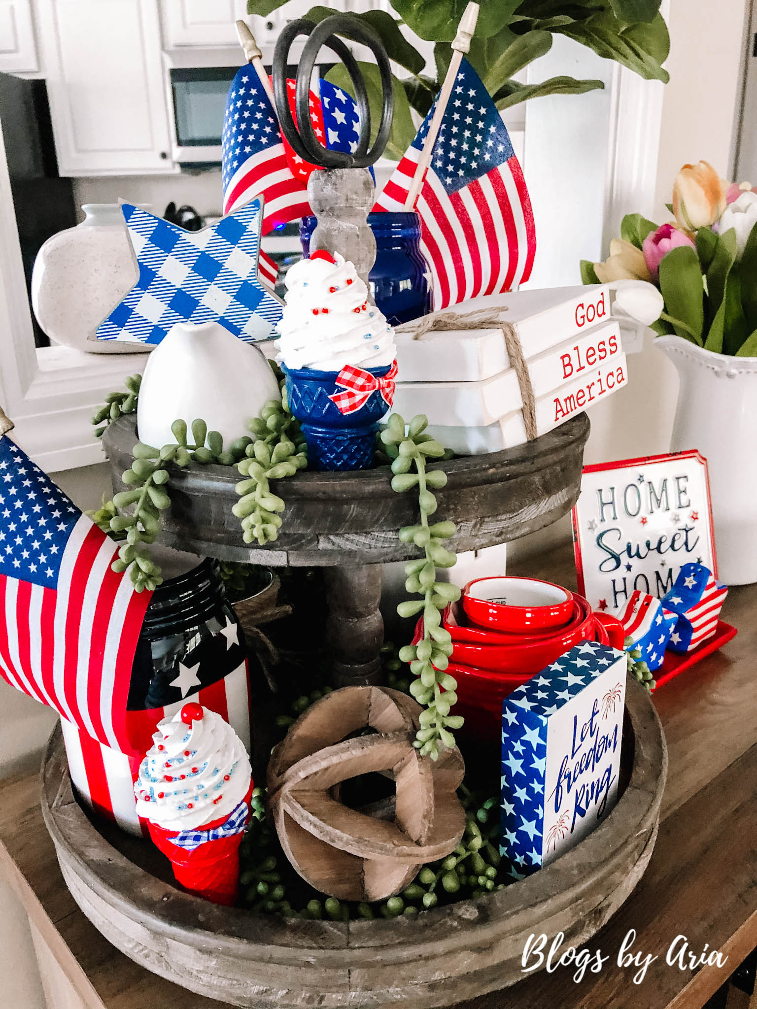 decorating tiered tray for Independence Day