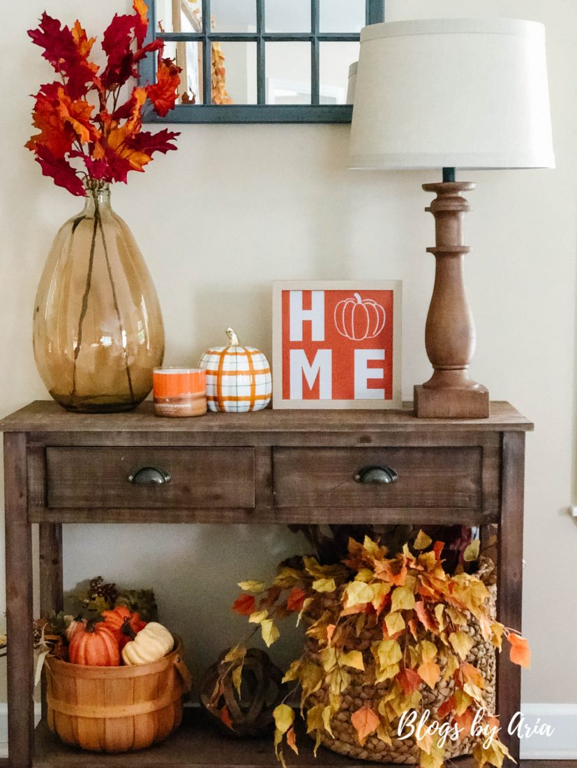 decorate entry table for fall