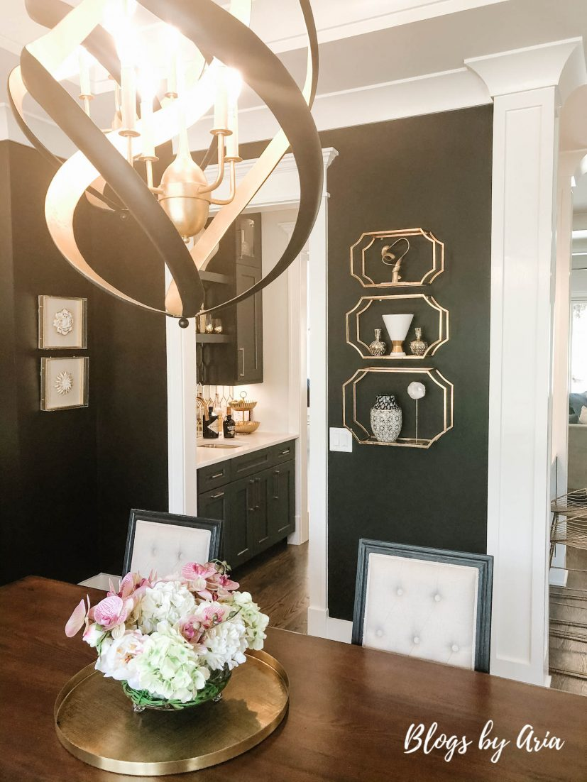 modern glam farmhouse chic black and gold dining room