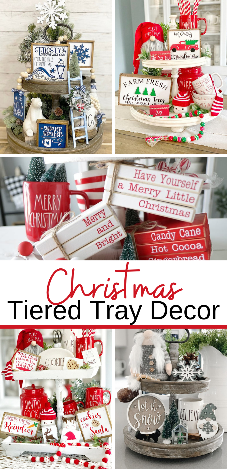 Christmas Tiered Tray Decor Inspiration Ideas