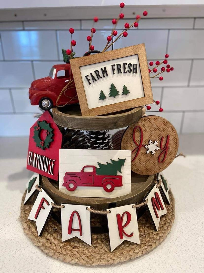 Farmhouse Christmas Tiered Tray