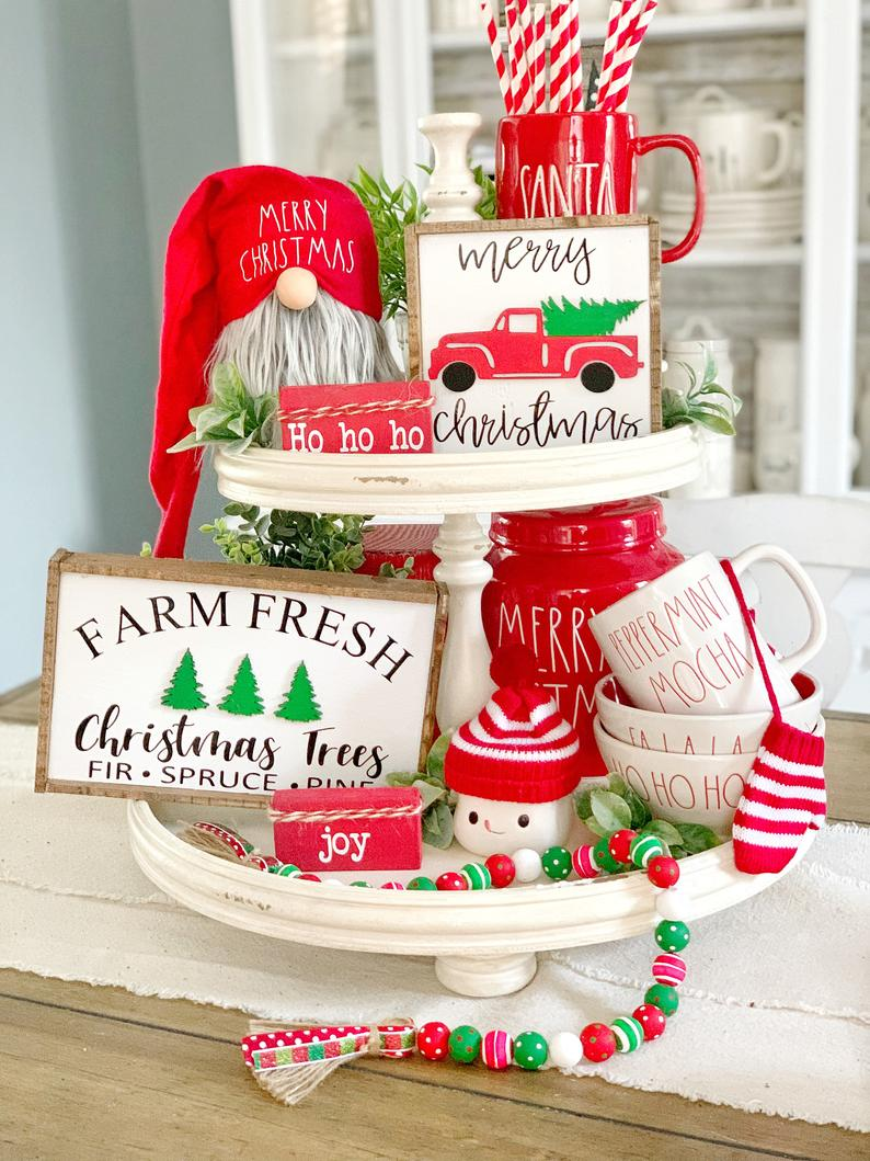 Farmhouse Christmas Truck and Trees tiered tray