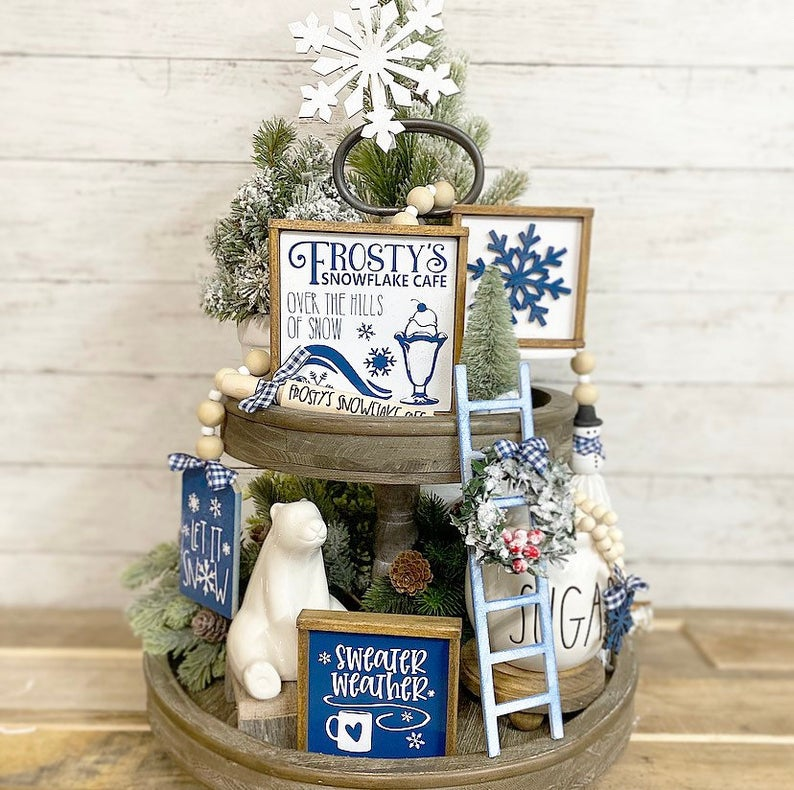 Frosty the Snowman Tiered Tray
