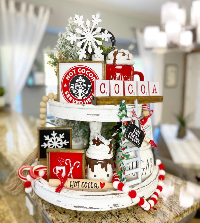 Hot Cocoa Holiday Themed Tiered Tray