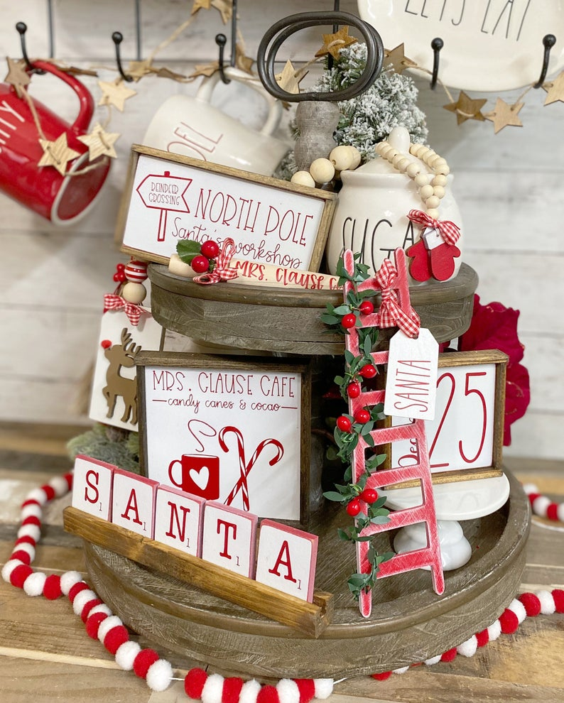 Mrs. Santa Clause themed tiered tray