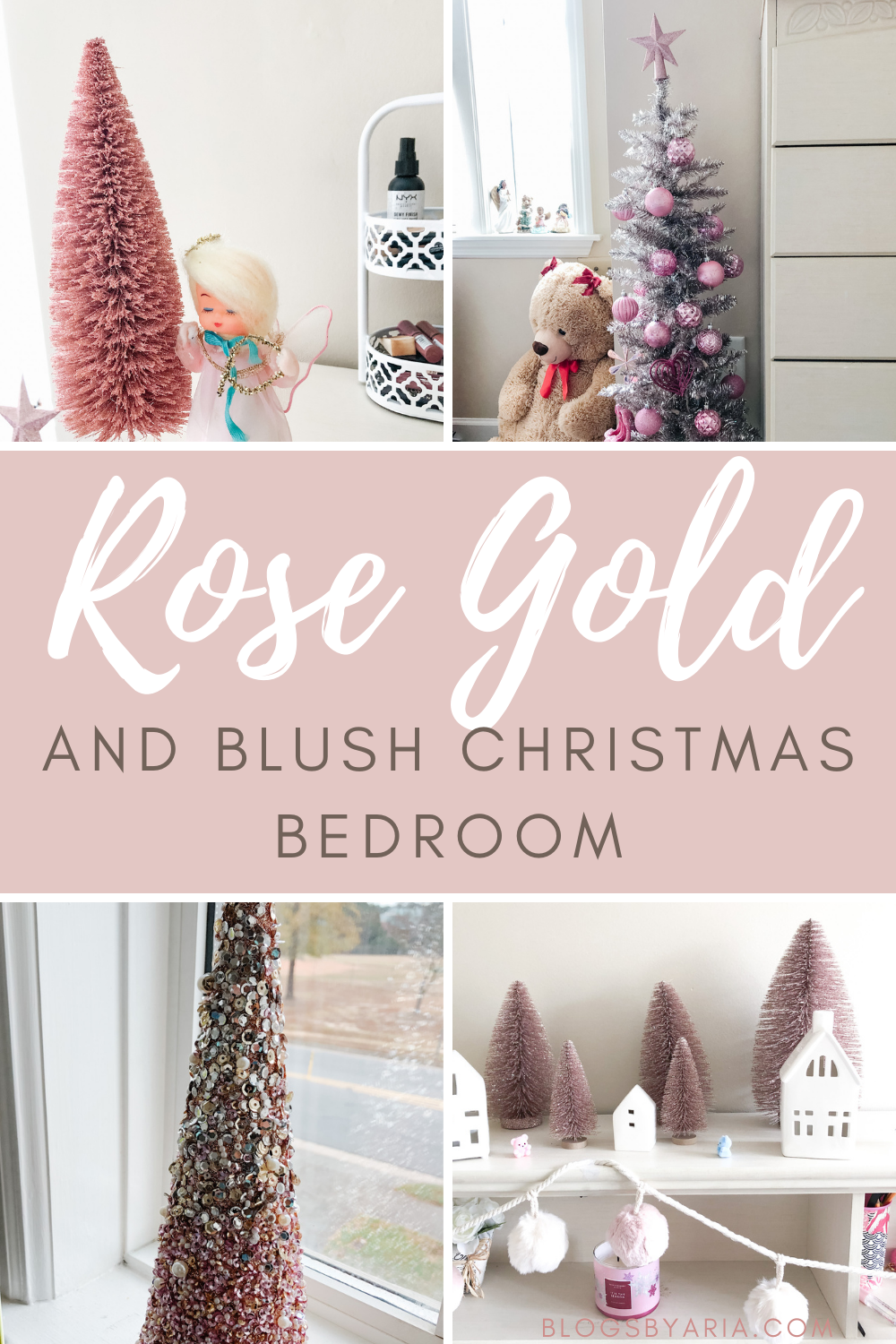 Rose Gold and Blush Christmas Bedroom