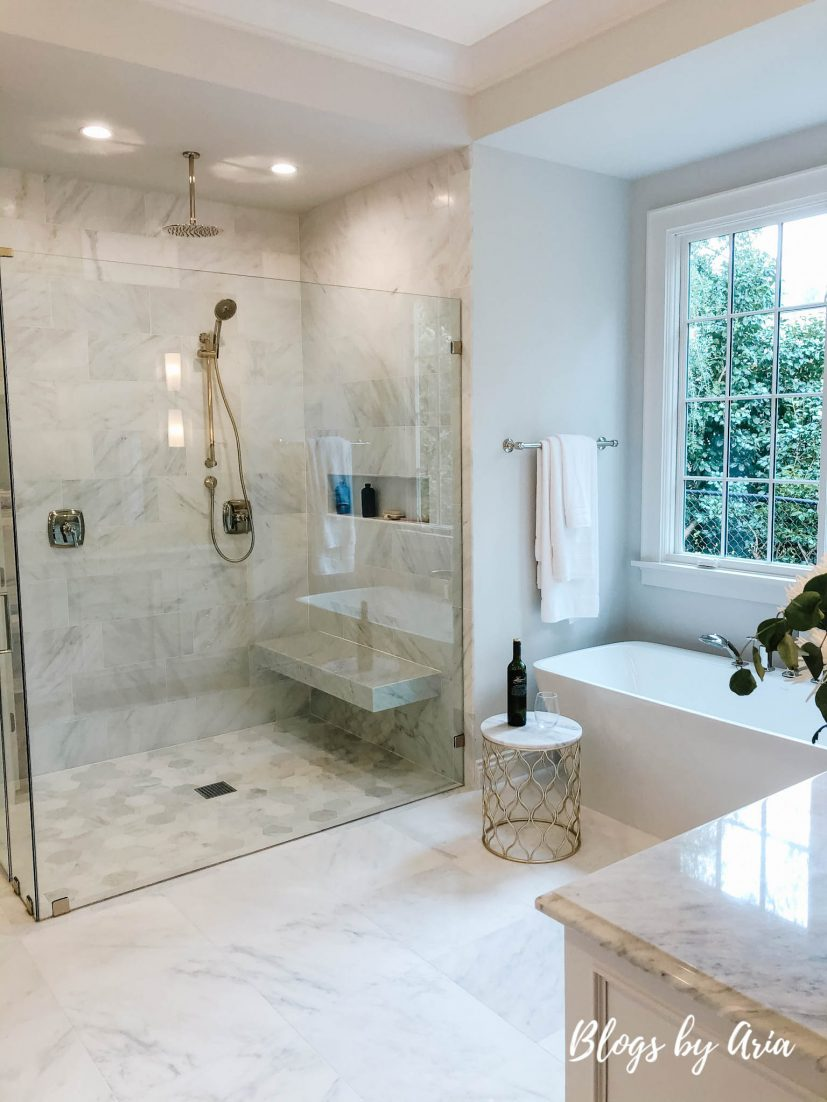 Example of a large-sized classic master white tile and marble tile white floor and marble floor bathroom design
