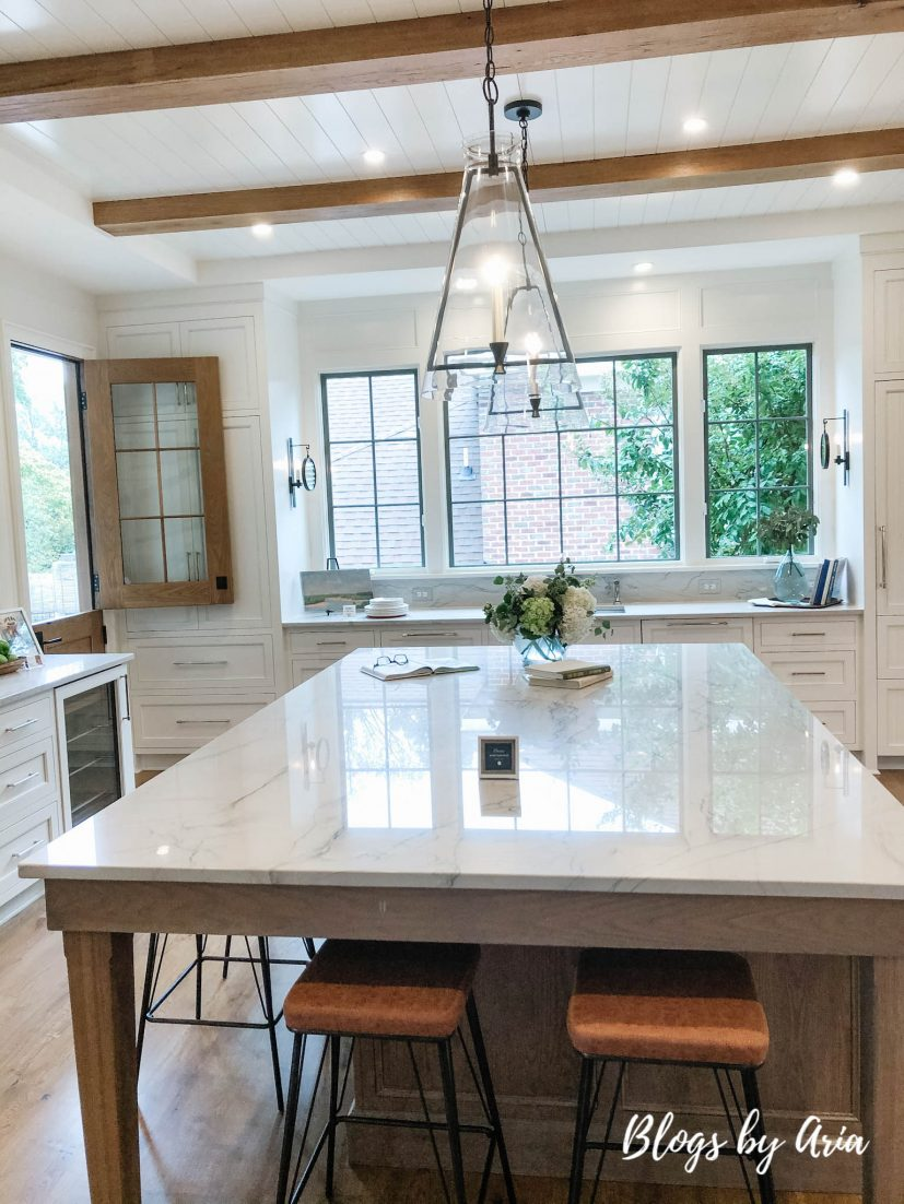white open airy kitchen with oversized island
