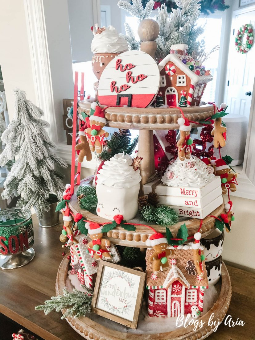 gingerbread house tiered tray