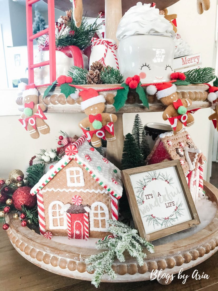 gingerbread house tier tray styling