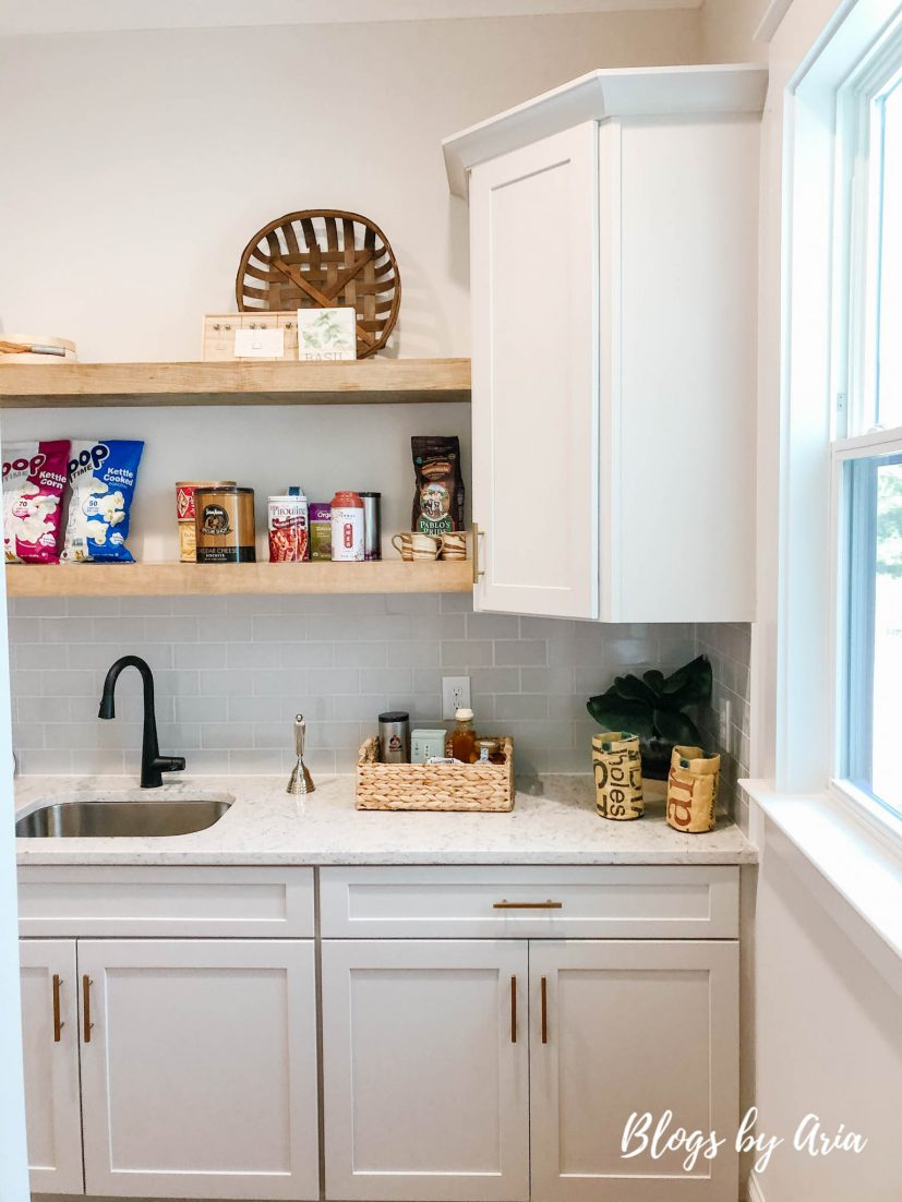 walk in pantry with open shelving