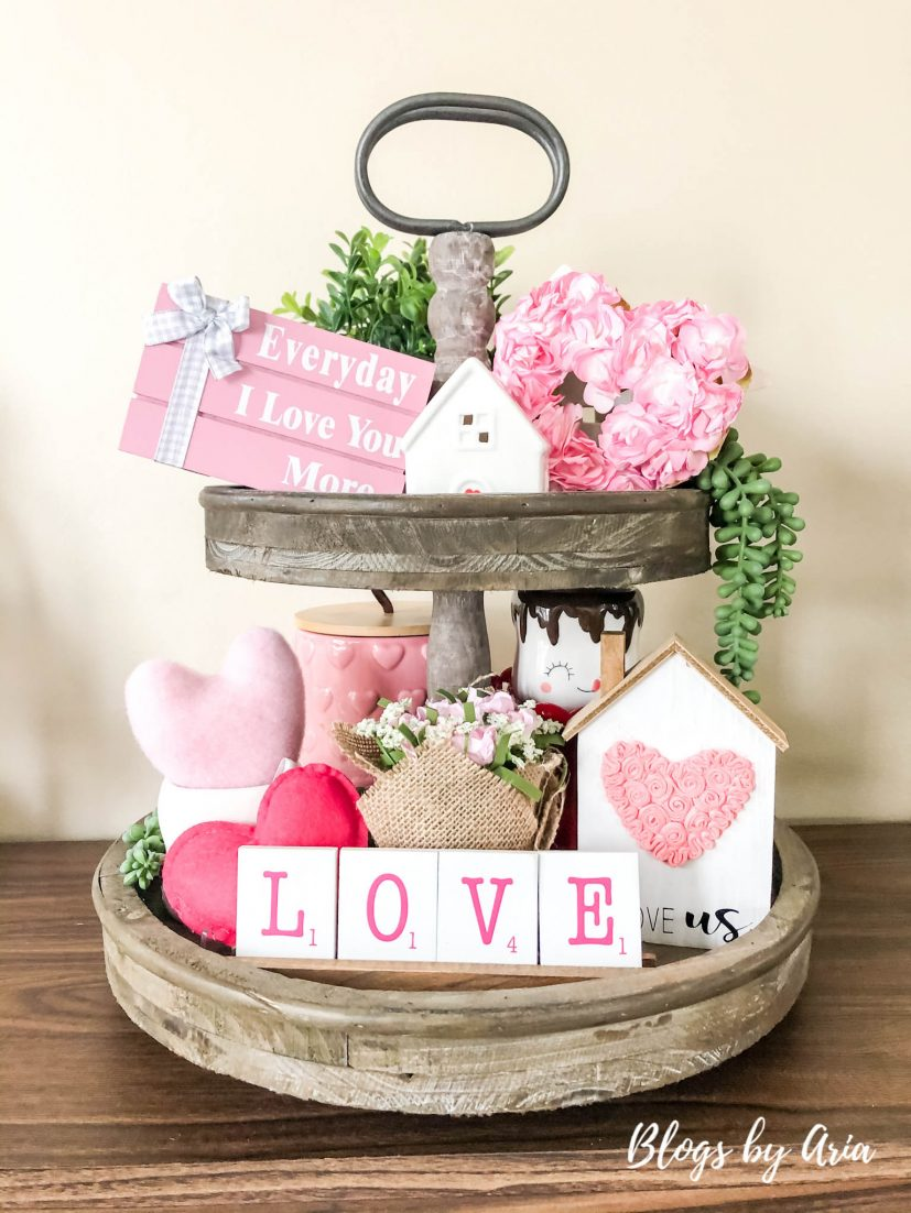 valentines day tiered tray decor