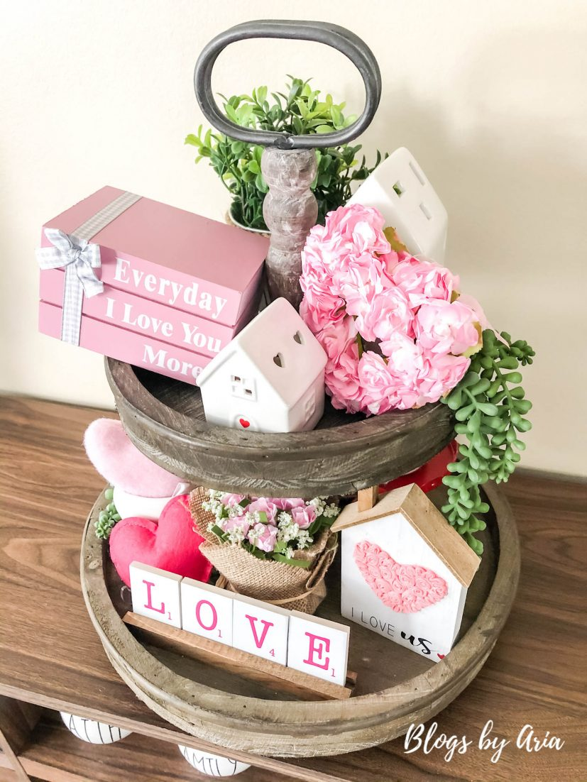 Valentines tiered tray styling