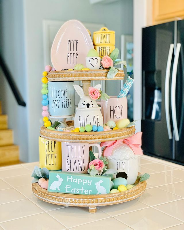pastel Easter three tier tray