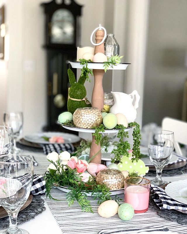 pretty easter tier tray dining table centerpiece