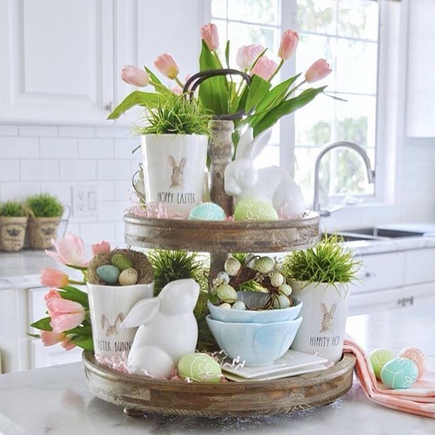 spring easter tulips tier tray
