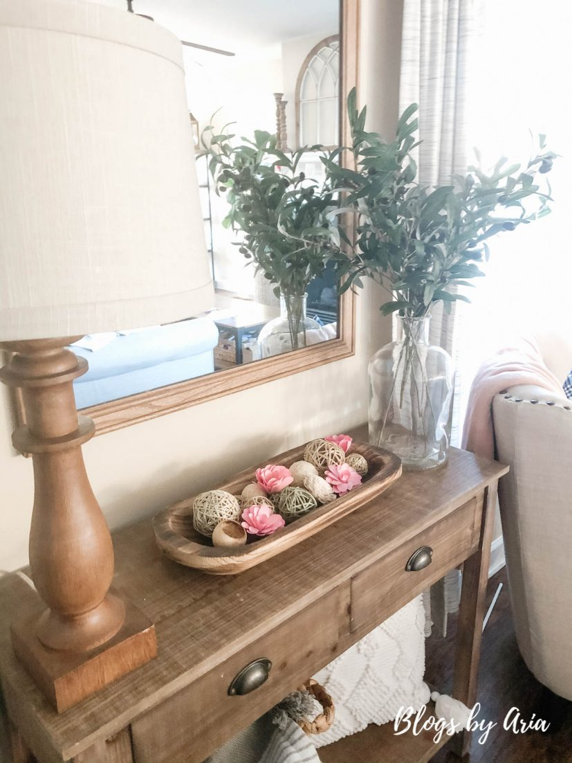 simple entryway table decorated for valentine's day