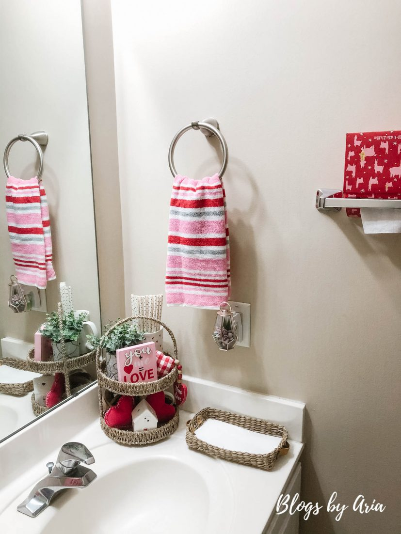 powder room styled for valentines