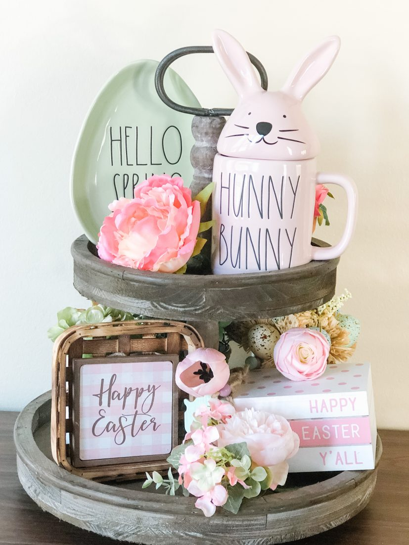 Easter tiered tray with Rae Dunn