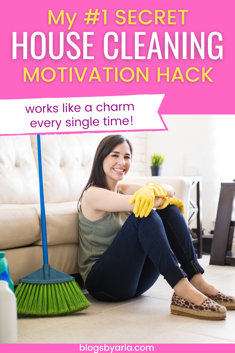 woman satisfied cleaning secret house cleaning motivation