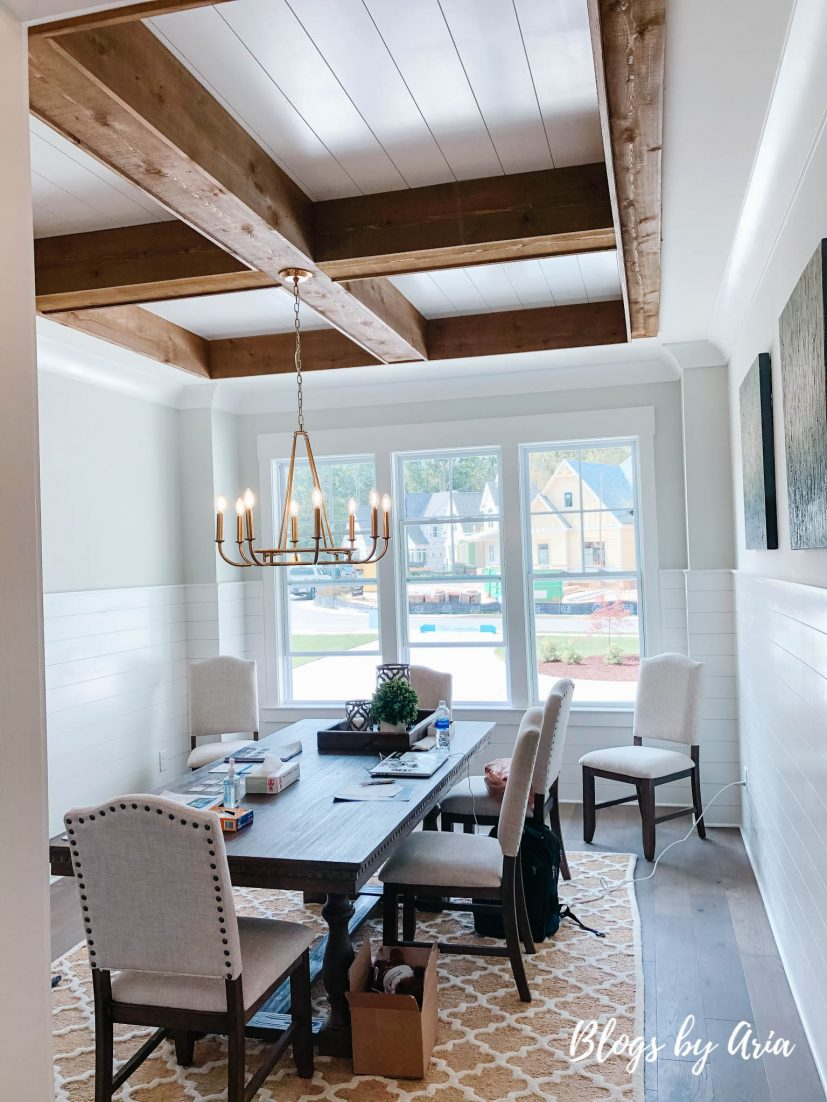 wood beam coffered ceiling