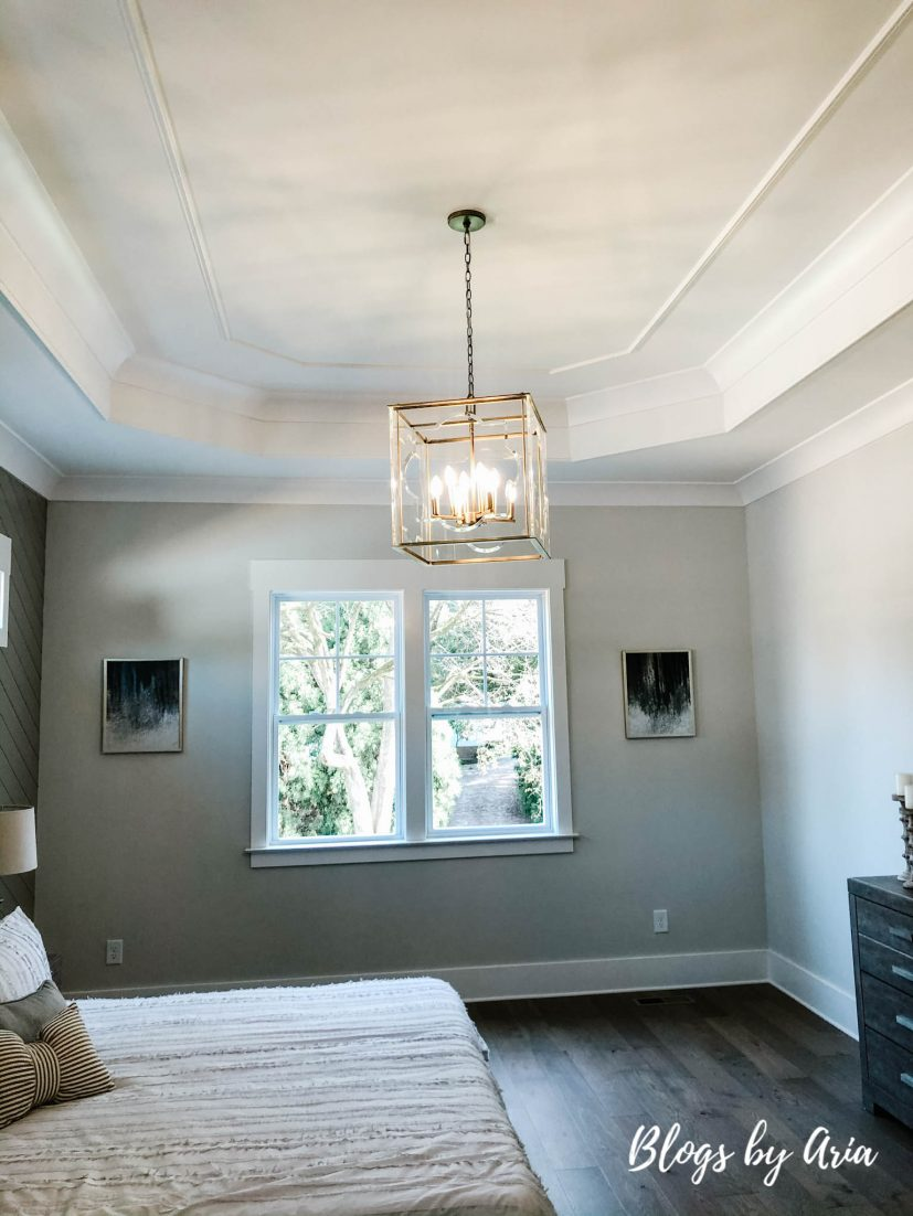 bedroom with crown molding trey ceiling