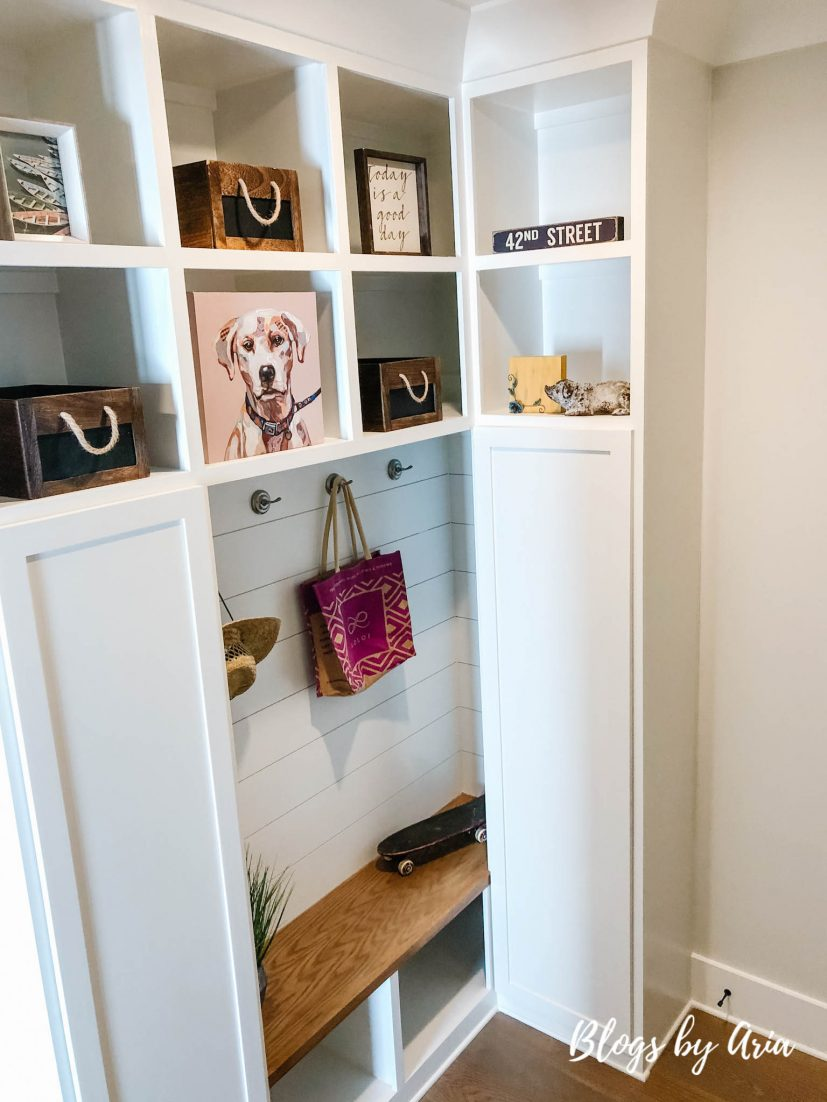 small functional drop zone mud room