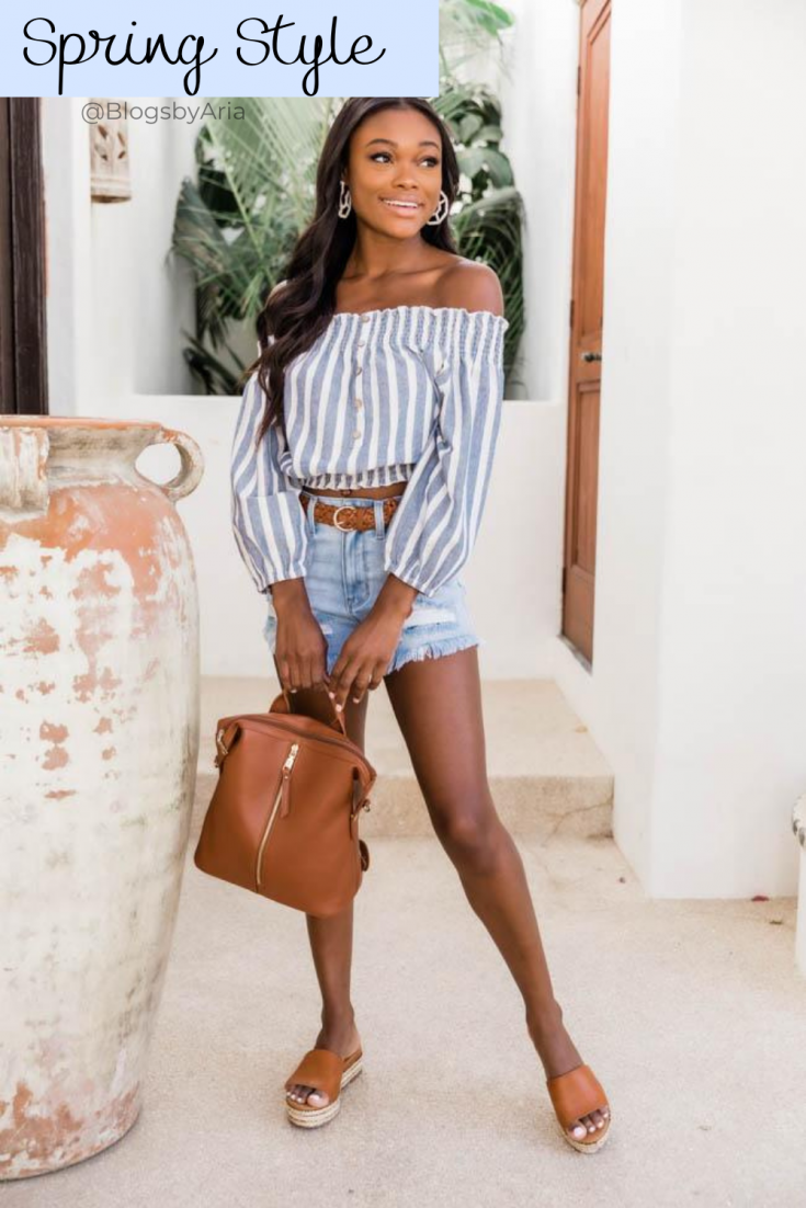 spring outfit off the shoulder top